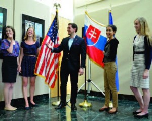 Enjoying the embassy reception: (l-r) Alena Cierna, Katarina Minarikova, Adam Sebesta, Ivana Smolenova, Barbora Bodnarova.
