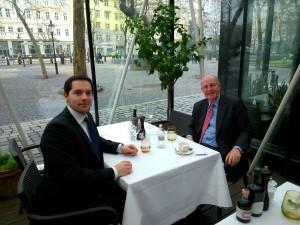 Amb. Tod Sedgwick dining with Slovak Scholar Adam Sebesta