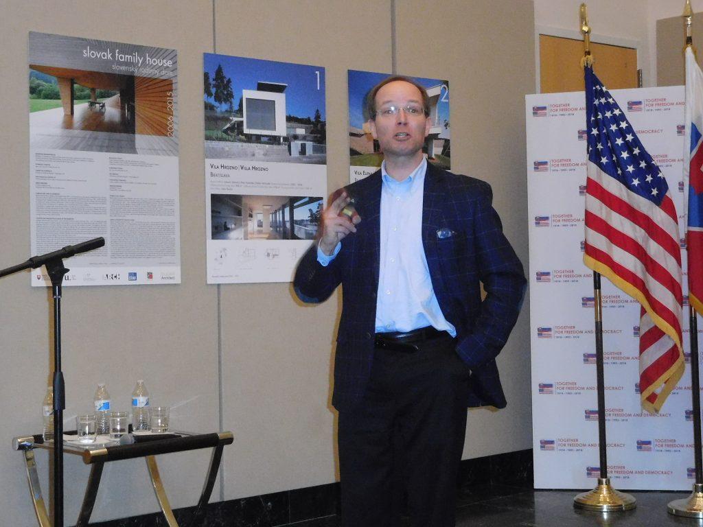 Dr. James Krapfl speaking at the event.