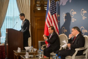 President A. Wess Mitchell, Rep. Ed Royce, Foreign Minister Zaoralek