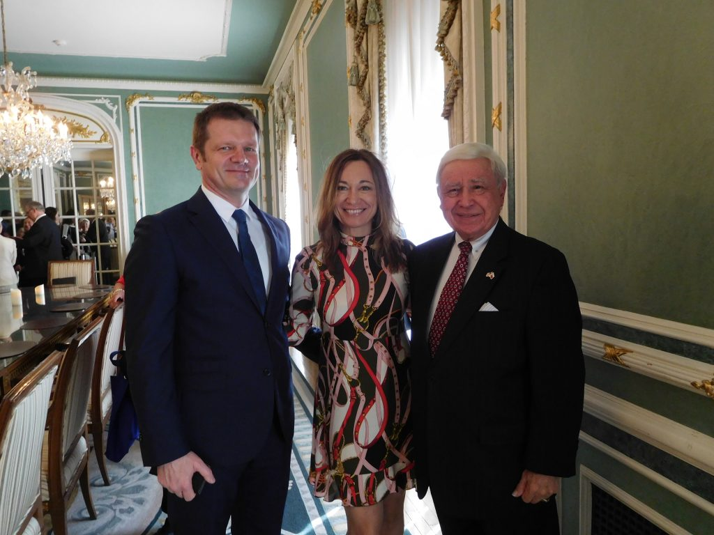 Slovak Ambasasdor Peter Kmec and his wife, Monica, with FOS Chairman Joe Senko at future Hungarian Embassy