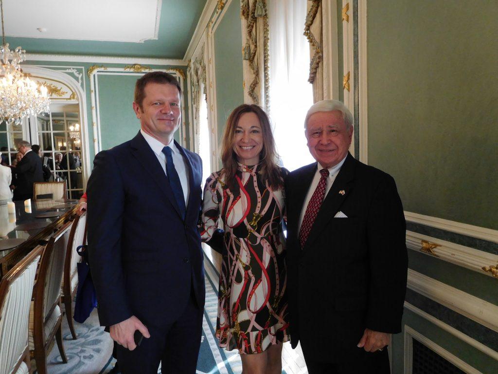 Slovak Ambasasdor Peter Kmec and his wife, Monica, with FOS Chairman Joe Senko at future Hungarian Embassy