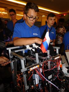 Slovak team member working on robot