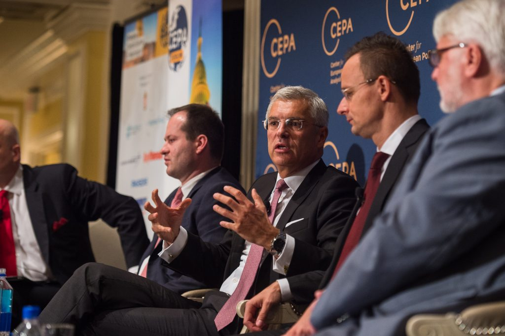 Slovak State Secretary, Ivan Korcok, speaking at the CEPA Forum. (Photo courtesy of CEPA)